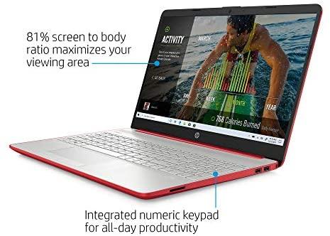 "HP 15 15.6"" Laptop Computer_ Intel Pentium Gold 6405U 2.4GHz_ 4GB DDR4 RAM, 500GB HDD_ AC WiFi_ Bluetooth 4.2_ USB Type-C_ HDMI_ Webcam_ Scarlet Red_ Remote Work_ Windows 10_ BROAGE 64GB Flash Drive 4"