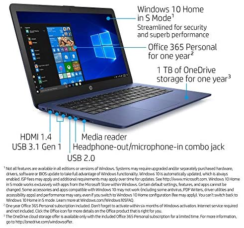 HP Stream 14-inch Laptop, Intel Celeron N4000, 4 GB RAM, 64 GB eMMC, Windows 10 Home in S Mode with Office 365 Personal for 1 Year (14-cb185nr, Royal Blue) 2