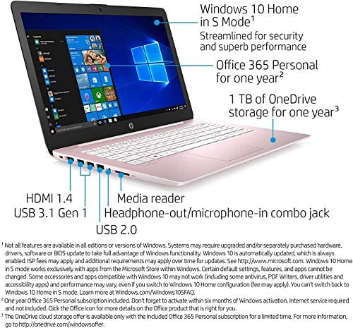 "2021 HP Stream 14"" HD Thin and Light Laptop, Intel Celeron N4000 Processor, 4GB RAM, 64GB eMMC, HDMI, Webcam, WiFi, Bluetooth, 1 Year Microsoft 365, Windows 10 S, Rose Pink, W/ IFT Accessories 3"