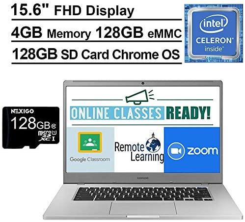 2021 Samsung Chromebook 15.6 Inch Laptop  FHD 1080P Display  Intel Celeron N4000 up to 2.6 GHz  4GB RAM  128GB eMMC  Bluetooth  Chrome OS + NexiGo 128GB MicroSD Card Bundle 3