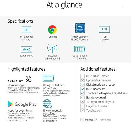 HP Chromebook 14-inch HD Laptop, Intel Celeron N4000, 4 GB RAM, 32 GB eMMC, Chrome (14a-na0010nr, Mineral Silver) 6