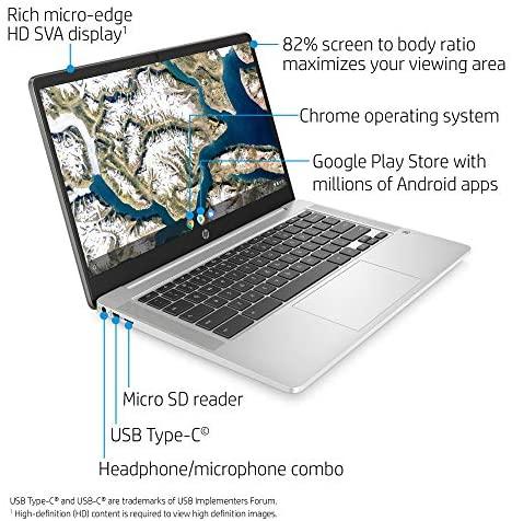 HP Chromebook 14-inch HD Laptop, Intel Celeron N4000, 4 GB RAM, 32 GB eMMC, Chrome (14a-na0010nr, Mineral Silver) 2