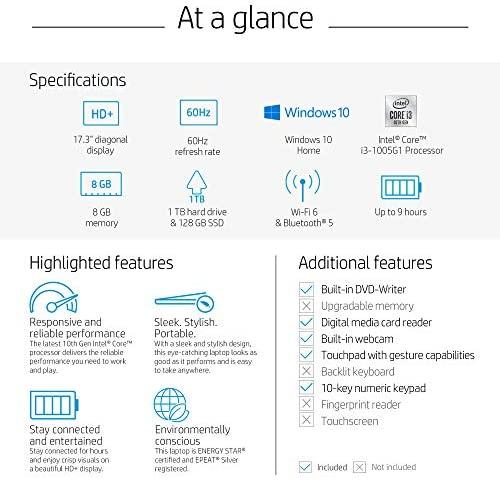 "2020 New HP 17-by3063st 17.3"" HD+ Display Notebook, Intel i3-1005G1, 8GB Memory, 128GB SSD + 1TB Hard Drive, Windows 10, Silver 8"