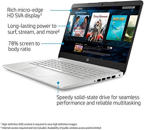 """HP 14-fq0032ms Laptop for Business and Student, 14"""" LED Touchscreen, AMD Ryzen 3 3250U Processor(up to 3.5 GHz), 8GB RAM, 128GB SSD, Webcam, WiFi, Ethernet, HDMI, USB-A&C, Win10 3"""