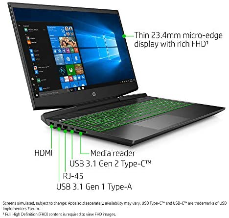 HP Pavilion Gaming 15-Inch Micro-EDGE Laptop, Intel Core i5-9300H Processor, NVIDIA GeForce GTX 1650 (4 GB), 8 GB SDRAM, 256 GB SSD, Windows 10 Home (15-dk0020nr, Shadow Black/Acid Green) 4