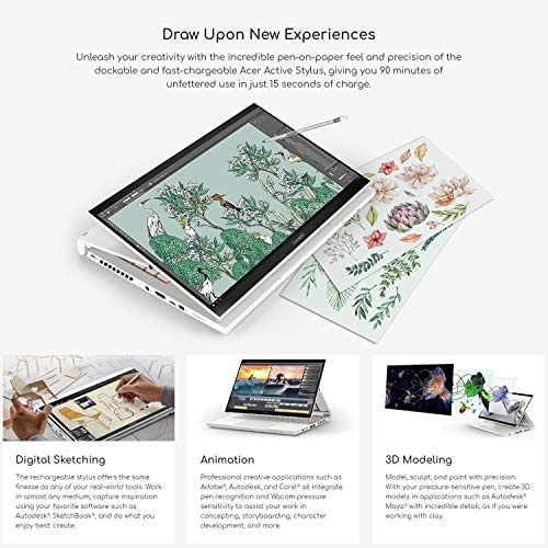 "Acer ConceptD 3 Ezel CC314-72G-72SX Convertible Creator Laptop, Intel i7-10750H, GeForce GTX 1650 Max-Q, 14"" FHD, Gorilla Glass, Pantone Validated, 100% sRGB, 16GB, 512GB NVMe SSD, Wacom AES 1.0 Pen 4"