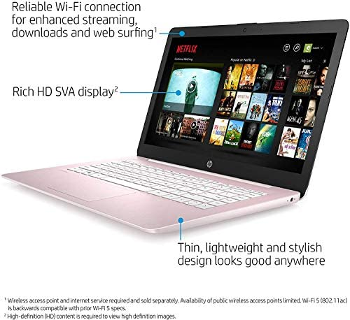 "2021 HP Stream 14"" HD Thin and Light Laptop, Intel Celeron N4000 Processor, 4GB RAM, 64GB eMMC, HDMI, Webcam, WiFi, Bluetooth, 1 Year Microsoft 365, Windows 10 S, Rose Pink, W/ IFT Accessories 5"