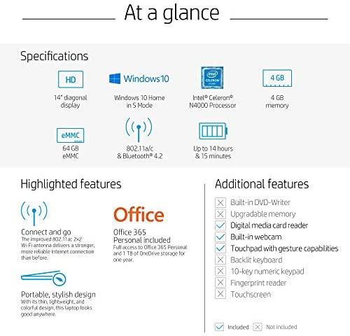 HP Stream 14-Inch Laptop, Intel Celeron N4000, 4 GB RAM, 64 GB eMMC, Windows 10 Home in S Mode (14-cb159nr, Jet Black) 5