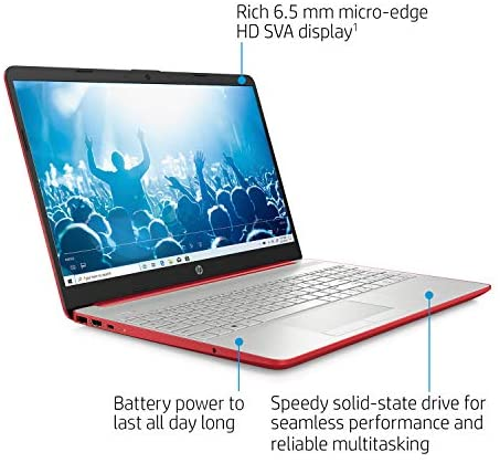 "2021 Newest 15.6"" HP Pavilion HD Laptop, Intel Dual-core Pentium Processor, Intel UHD Graphics, HD Webcam, Bluetooth, HDMI, USB Type-C, Scarlet Red, Windows 10 + Oydisen Cloth (8GB | 256GB SSD) 2"