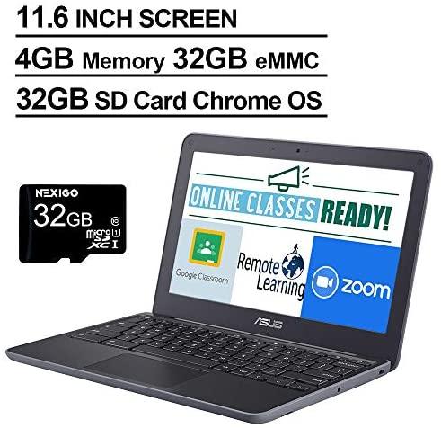 2021 Newest Asus Chromebook 11.6 Inch Laptop, MediaTek MT8173C 2.1GHz, 4GB RAM, 32GB eMMC, WiFi, Bluetooth, Webcam, Chrome OS + NexiGo 32GB MicroSD Card Bundle 2