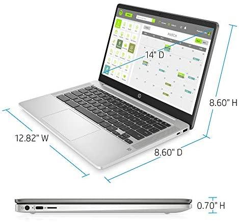 HP Chromebook 14-inch HD Laptop, Intel Celeron N4000, 4 GB RAM, 32 GB eMMC, Chrome (14a-na0010nr, Mineral Silver) 4