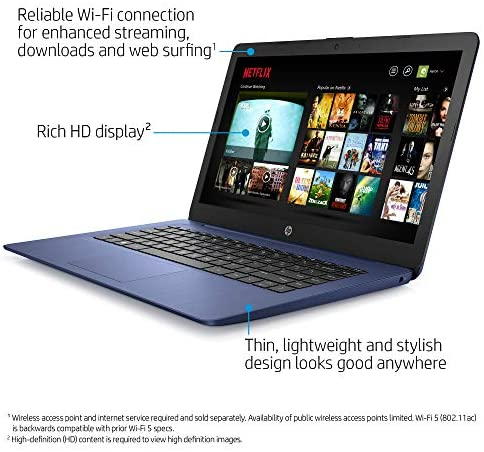 HP Stream 14-inch Laptop, Intel Celeron N4000, 4 GB RAM, 64 GB eMMC, Windows 10 Home in S Mode with Office 365 Personal for 1 Year (14-cb185nr, Royal Blue) 3