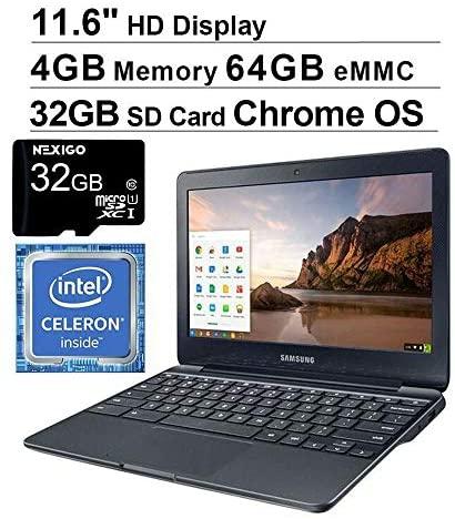 2021 Samsung 11.6 Inch Non-Touch Chromebook Laptop  Intel Celeron N3060 up to 2.48 GHz  4GB LPDDR3 RAM  64GB eMMC  WiFi  Bluetooth  HDMI  Chrome OS + NexiGo 32GB SD Card 2