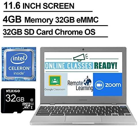 2021 Newest Samsung Chromebook 4 11.6 Inch Laptop, Intel Celeron N4000 up to 2.6 GHz, 4GB LPDDR4 RAM, 32GB eMMC, WiFi, Bluetooth, Webcam, Chrome OS + NexiGo 32GB MicroSD Card Bundle 2