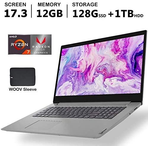 """Lenovo - IdeaPad 3 17"""" Laptop - AMD Ryzen 7 3700U - AMD Radeon Vega 10 - Platinum Grey12GB DDR4 RAM, 128GB PCIE SSD, 1TB HDD, Bundle with Woov Accessories - Windows 10 Home 2"""