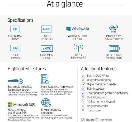 2020 HP Stream 11.6 inch Laptop Computer Intel Celeron N4020 Upto 2.8 GHz, 4GB RAM, 32GB eMMC Storage, Windows 10 Home, 13Hr Battery Life, Office 365 1Year, (Rose Pink) 7