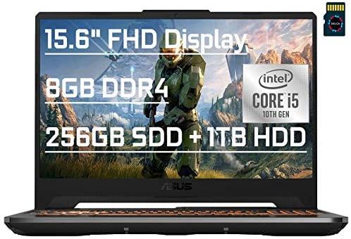 "ASUS TUF F15 Premium Gaming Laptop computer 15.6"" FHD tenth Gen Intel 4-core i5-10300H (> i7-8750H) 8GB DDR4 256GB SSD + 1TB HDD GeForce GTX 1650 Ti 4GB Backlit USB-C Wifi6 Win10 + Delca 16GB Micro SD Card 1"