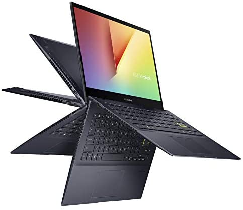 "ASUS VivoBook Flip 14 Thin and Light 2-in-1 Laptop, 14"" FHD Touch Display, AMD Ryzen 7 4700U, 8GB DDR4 RAM, 512GB SSD, Glossy, Stylus, Windows 10 Home, Fingerprint Reader, Bespoke Black, TM420IA-DB71T 1"