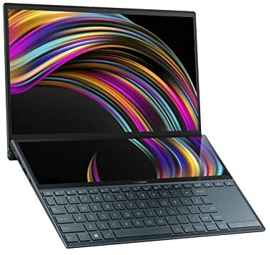 "ASUS ZenBook Duo UX481 14"" FHD NanoEdge Bezel Touch Display, Intel Core i7-10510U CPU, 8GB RAM, 512GB PCIe SSD, Innovative ScreenPad Plus, Windows 10 Home, Celestial Blue, UX481FA-DB71T 1"