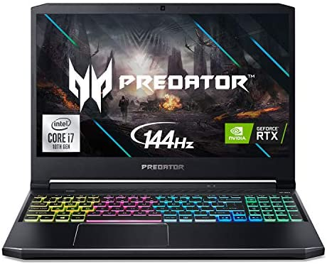 "Acer Predator Helios 300 Gaming Laptop, Intel i7-10750H, NVIDIA GeForce RTX 2060 6GB, 15.6"" Full HD 144Hz 3ms IPS Display, 16GB Dual-Channel DDR4, 512GB NVMe SSD, Wi-Fi 6, RGB Keyboard, PH315-53-72XD 1"