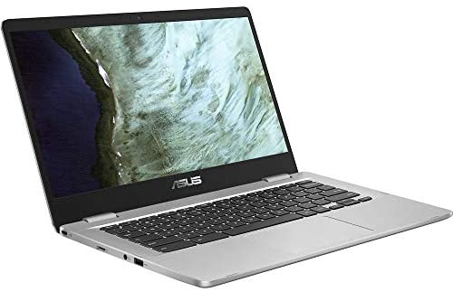 "Asus C423NA Chromebook 14"" HD Laptop (Intel Dual Core Celeron Processor N3350, 4GB DDR4 RAM, 64GB SSD) Webcam, WiFi, Bluetooth, Type-C, Google Chrome OS - Silver (Renewed) 1"