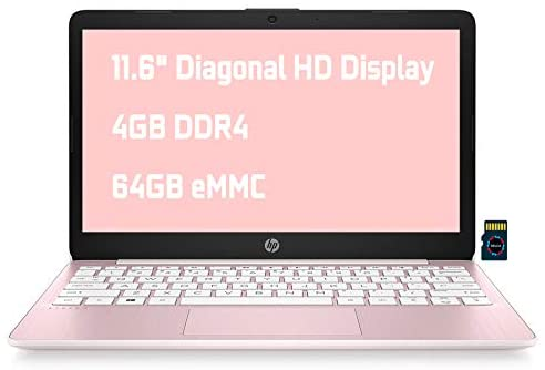 "HP Stream 11 Premium Laptop Computer I 11.6"" Diagonal HD Anti-Glare Display I Intel Celeron N4020 I 4GB DDR4 64GB eMMC I USB-C HDMI Wifi5 Bluetooth Webcam Win 10 (Pink) + Delca 32GB MicroSD Card 1"