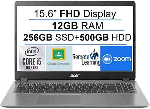 """Newest Acer Aspire 3 15.6"""" FHD 1080P Laptop Computer, 10th Gen Intel Quad-Core i5 1035G1 (Beats i7-7500u), 12GB DDR4 RAM, 256GB SSD+500GB HDD, Webcam, HDMI, WiFi, Bluetooth, Windows 10, AllyFlex MP 1"""