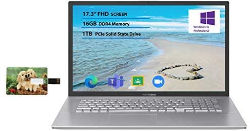 "Newest Flagship Asus VivoBook 17 Business Laptop 17.3"" FHD Display AMD Ryzen 3 3250U Processor 16GB RAM 1TB SSD USB-C HDMI SonicMaster for Business and Student Windows 10 Pro | 32GB Tela USB Card 1"