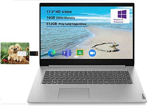 "Newest Lenovo Flagship Ideapad 3 17 Laptop 17.3"" HD+ Anti-Glare Intel Quad-Core i5-1035G1(Beats i7-8550U) 16GB RAM 512GB SSD for Business and Student Webcam Dolby Windows 10 Pro | 32GB Tela USB Card 1"