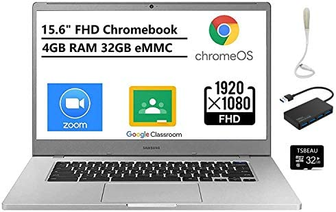 """Newest Samsung Chromebook 4+, 15.6"""" Full HD 1080p Notebook, Intel Celeron N4000, 4GB RAM, 32GB eMMC, Wi-Fi, Bluetooth, Chrome OS, Bundled with TSBEAU 32GB Micro SD Card&4 Port USB 3.0 Hub&USB Light 1"""