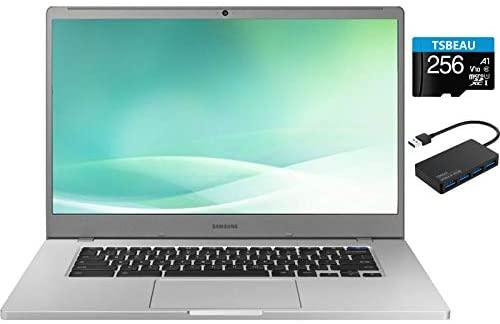 "Samsung Chromebook 15.6"" FHD Laptop, FHD 1080P Display, Intel Celeron N4000, 4GB RAM, 32GB eMMC, Google Class Room Ready , Chrome OS, Platinum Titan, with TSBEAU USB Hub & 256GB Micro SD Card 1"