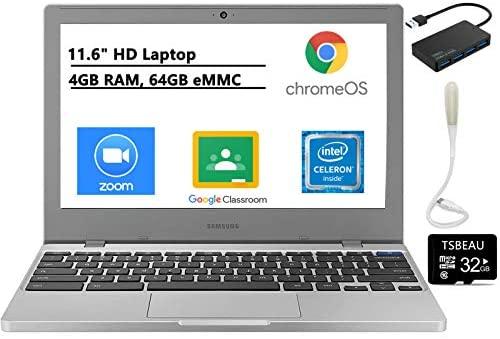 """Samsung Chromebook 4, 11.6"""" HD Laptop, Intel Celeron N4000, 4GB RAM 64GB eMMC,Gigabit Wi-Fi, Webcam, Bundled with TSBEAU USB LED Light & 4-Port USB 3.0 Hub & 32GB Micro SD Card 1"""