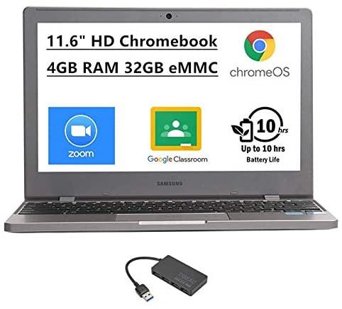 "Samsung Chromebook 4 11.6"" HD Laptop, Intel Celeron Processor N4000, 4GB RAM 32GB eMMC, Gigabit Wi-Fi,Bluetooth, Chrome OS, Platinum Titan, Bundled with TSBEAU 4-Port USB 3.0 Hub 1"