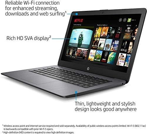 "2021 HP Stream 14"" HD Skinny and Gentle Laptop computer, Intel Celeron N4000 Processor, 4GB RAM, 64GB eMMC, HDMI, Webcam, WiFi, Bluetooth, 1 Yr Workplace 365, Home windows 10 S, Sensible Black, W/ IFT Equipment 3"