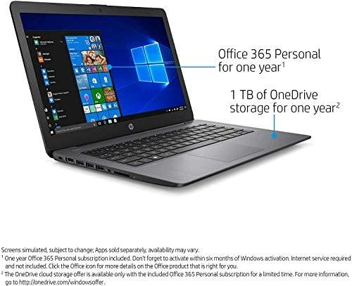 "2021 HP Stream 14"" HD Skinny and Gentle Laptop computer, Intel Celeron N4000 Processor, 4GB RAM, 64GB eMMC, HDMI, Webcam, WiFi, Bluetooth, 1 Yr Workplace 365, Home windows 10 S, Sensible Black, W/ IFT Equipment 6"