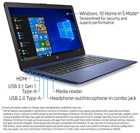 HP Stream 14-inch Laptop computer, AMD Twin-Core A4-9120E Processor, 4 GB SDRAM, 64 GB eMMC, Home windows 10 Dwelling in S Mode with Workplace 365 Private for One 12 months (14-ds0050nr, Royal Blue) 2