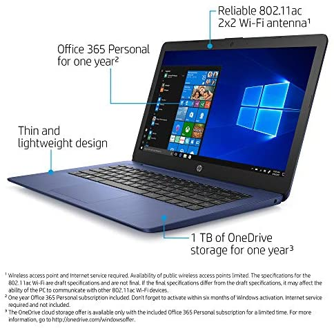 HP Stream 14-inch Laptop computer, AMD Twin-Core A4-9120E Processor, 4 GB SDRAM, 64 GB eMMC, Home windows 10 Dwelling in S Mode with Workplace 365 Private for One 12 months (14-ds0050nr, Royal Blue) 3